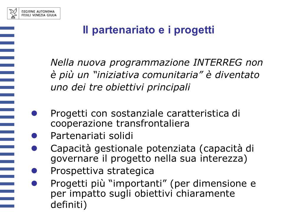 Il partenariato e i progetti Nella nuova programmazione INTERREG non è più un iniziativa comunitaria è diventato uno dei tre obiettivi principali Prog