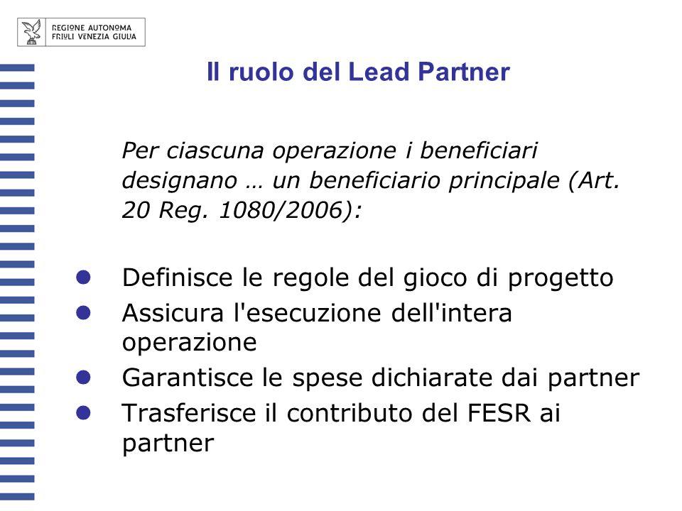 Il ruolo del Lead Partner Per ciascuna operazione i beneficiari designano … un beneficiario principale (Art. 20 Reg. 1080/2006): Definisce le regole d