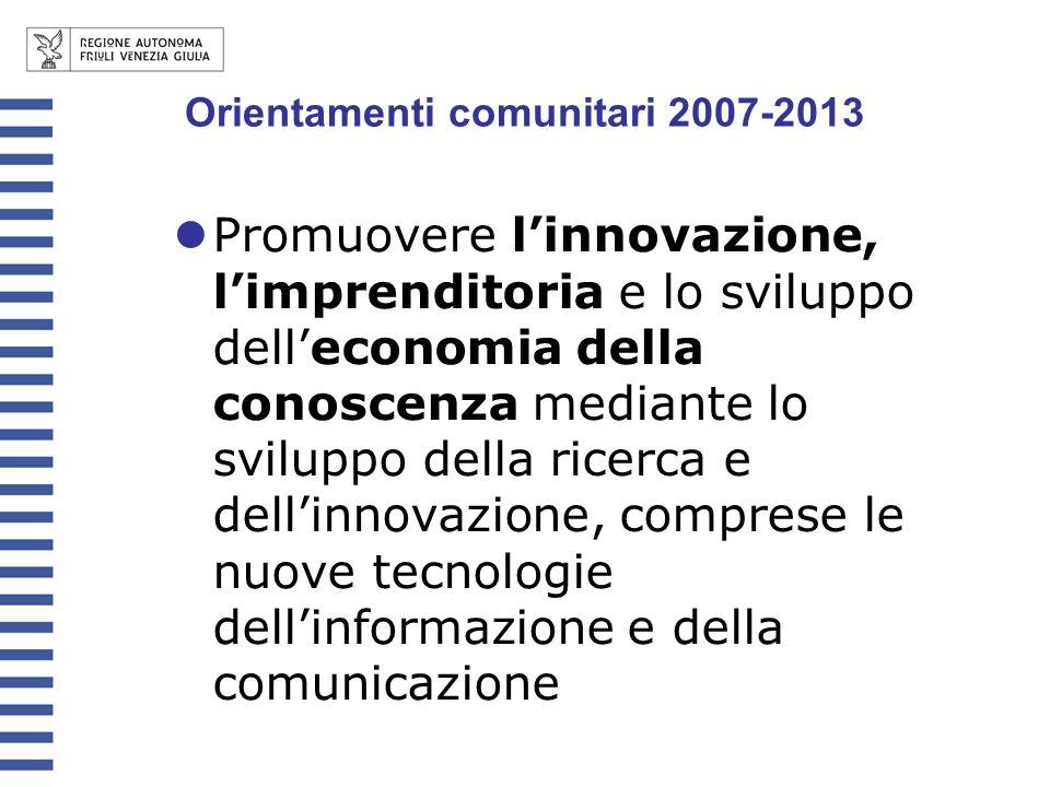 Promuovere linnovazione, limprenditoria e lo sviluppo delleconomia della conoscenza mediante lo sviluppo della ricerca e dellinnovazione, comprese le