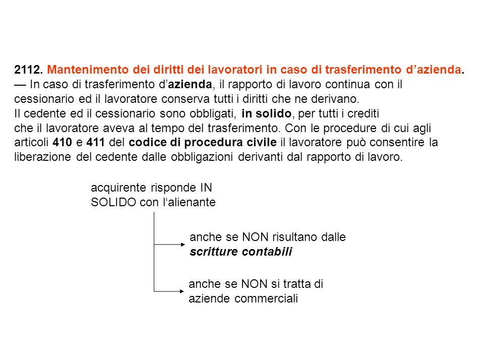 2112. Mantenimento dei diritti dei lavoratori in caso di trasferimento dazienda.