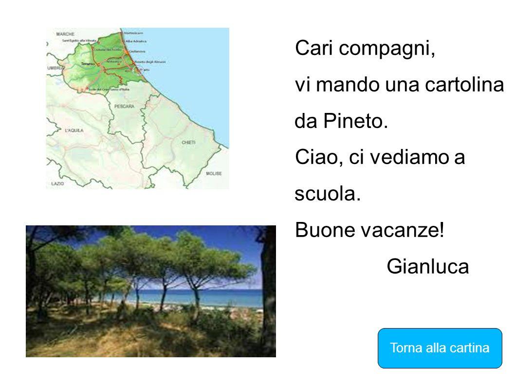 Cari compagni, vi mando una cartolina da Pineto. Ciao, ci vediamo a scuola. Buone vacanze! Gianluca Torna alla cartina