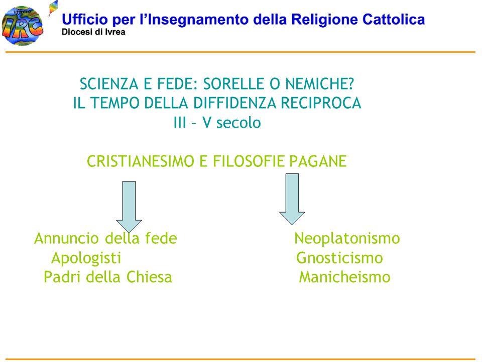 SCIENZA E FEDE: SORELLE O NEMICHE? IL TEMPO DELLA DIFFIDENZA RECIPROCA III – V secolo CRISTIANESIMO E FILOSOFIE PAGANE Annuncio della fede Neoplatonis