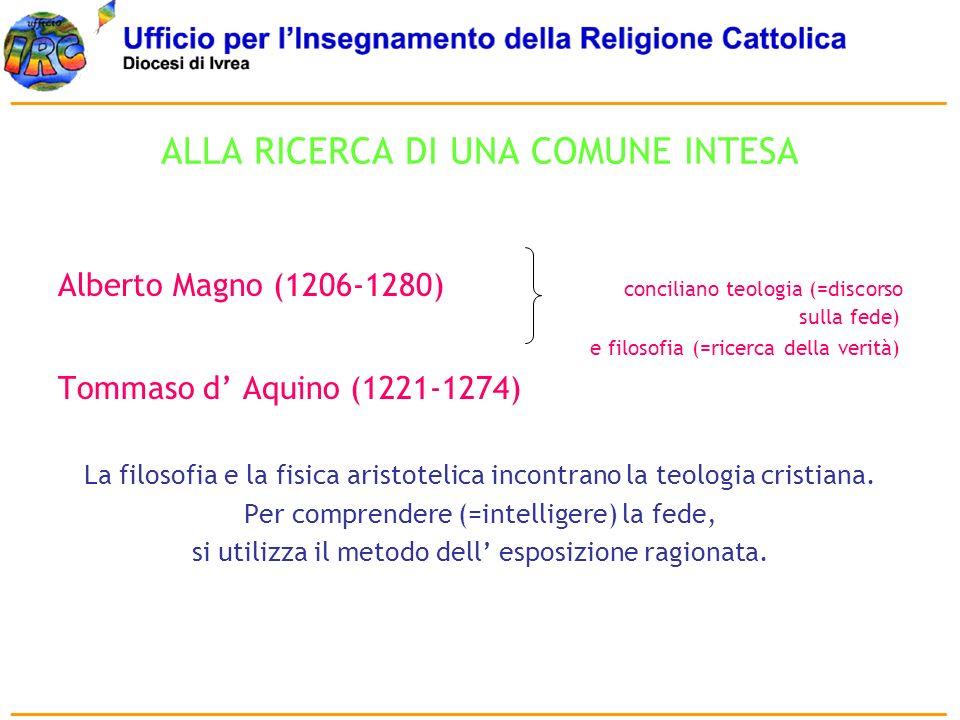 ALLA RICERCA DI UNA COMUNE INTESA Alberto Magno (1206-1280) conciliano teologia (=discorso sulla fede) e filosofia (=ricerca della verità) Tommaso d A