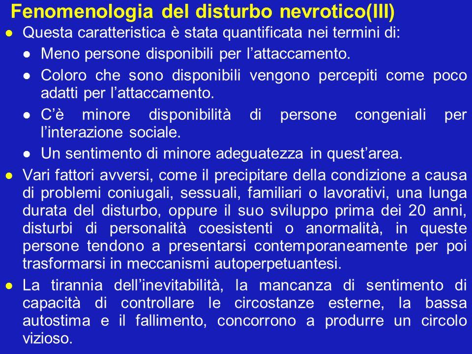 Fenomenologia del disturbo nevrotico(III) Questa caratteristica è stata quantificata nei termini di: Meno persone disponibili per lattaccamento. Color