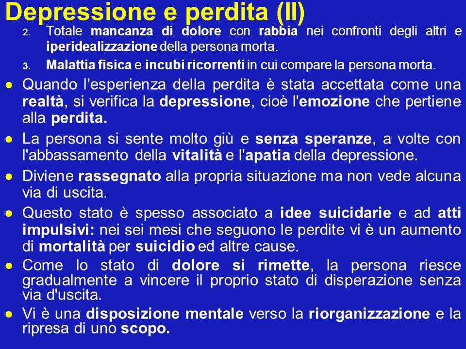 Depressione e perdita (II) 2. Totale mancanza di dolore con rabbia nei confronti degli altri e iperidealizzazione della persona morta. 3. Malattia fis