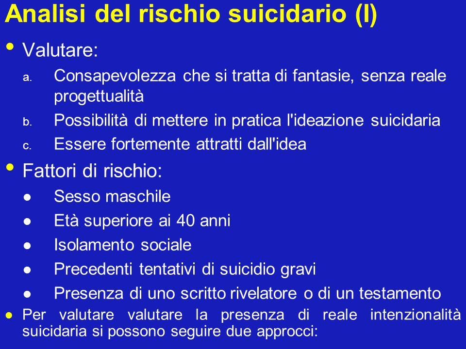 Analisi del rischio suicidario (I) Valutare: a. Consapevolezza che si tratta di fantasie, senza reale progettualità b. Possibilità di mettere in prati