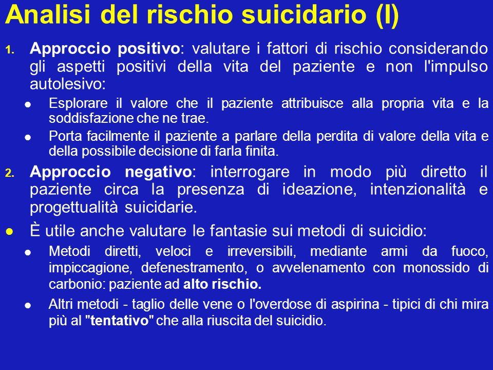 Analisi del rischio suicidario (I) 1. Approccio positivo: valutare i fattori di rischio considerando gli aspetti positivi della vita del paziente e no