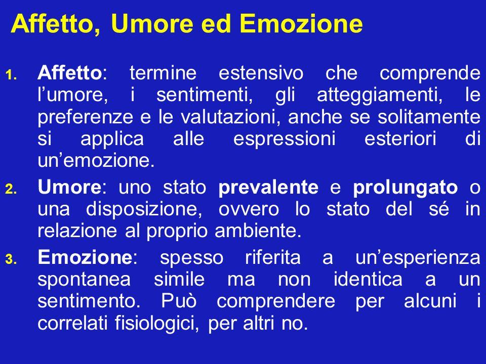Emozioni prototipiche 5 gruppi principali di emozioni discriminabili da parte dell osservatore (accordo generale): 1.