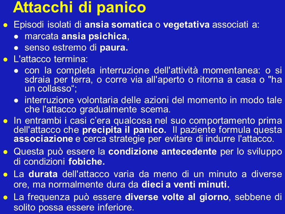 Attacchi di panico Episodi isolati di ansia somatica o vegetativa associati a: marcata ansia psichica, senso estremo di paura. L'attacco termina: con