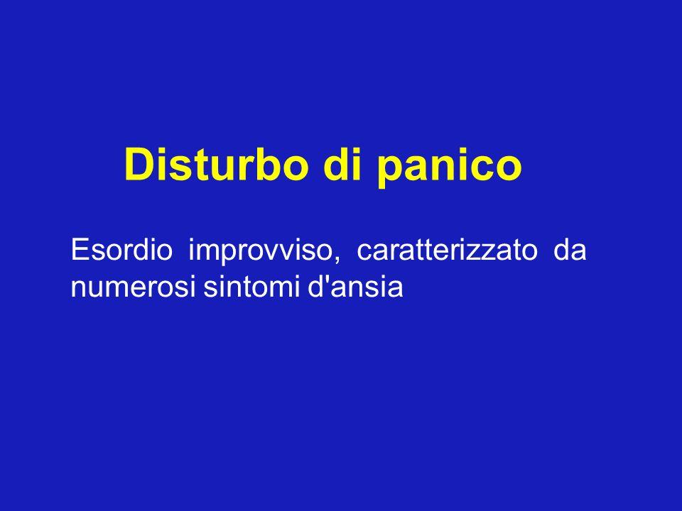 Disturbo di panico Esordio improvviso, caratterizzato da numerosi sintomi d'ansia