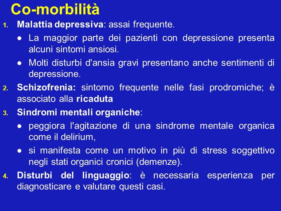 Co-morbilità 1. Malattia depressiva: assai frequente. La maggior parte dei pazienti con depressione presenta alcuni sintomi ansiosi. Molti disturbi d'