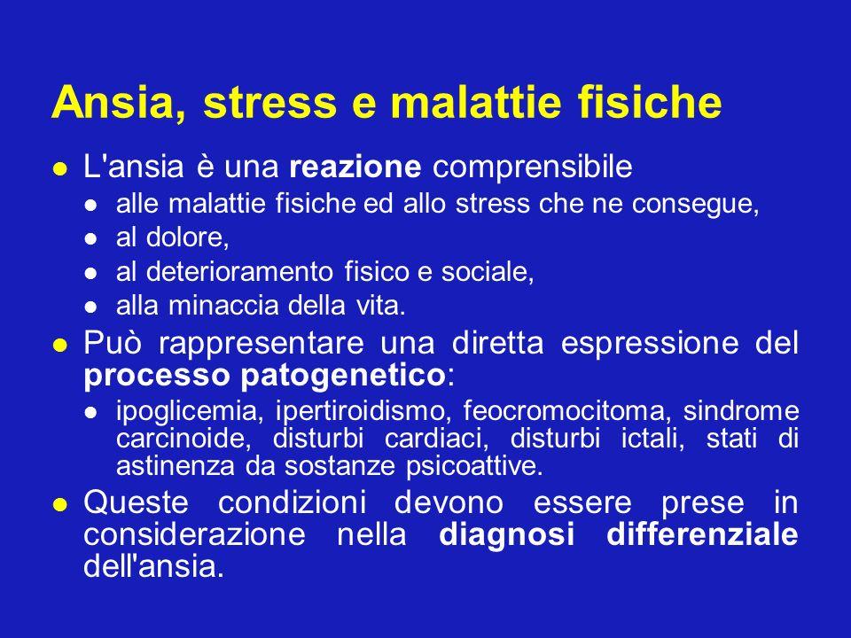 Ansia, stress e malattie fisiche L'ansia è una reazione comprensibile alle malattie fisiche ed allo stress che ne consegue, al dolore, al deterioramen