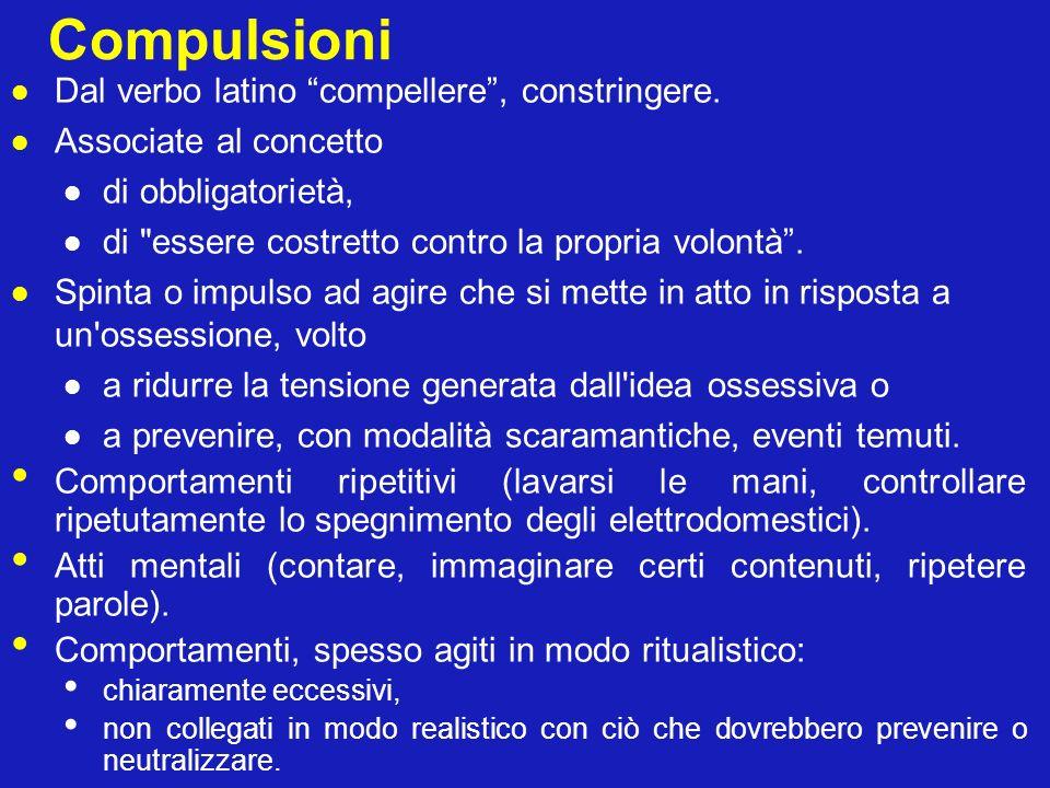 Compulsioni Dal verbo latino compellere, constringere. Associate al concetto di obbligatorietà, di