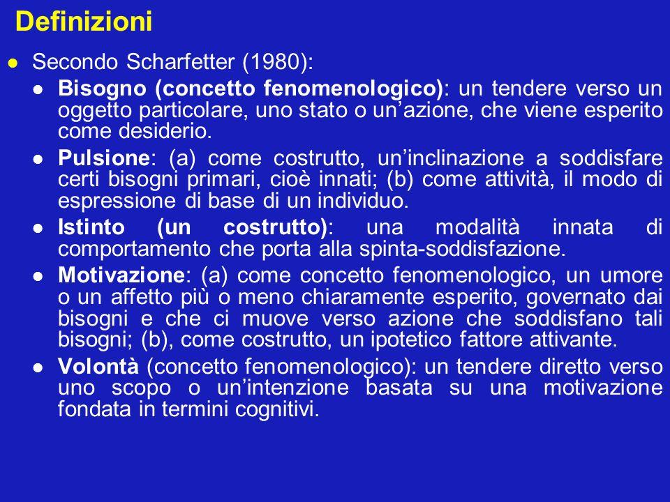 Definizioni Secondo Scharfetter (1980): Bisogno (concetto fenomenologico): un tendere verso un oggetto particolare, uno stato o unazione, che viene es