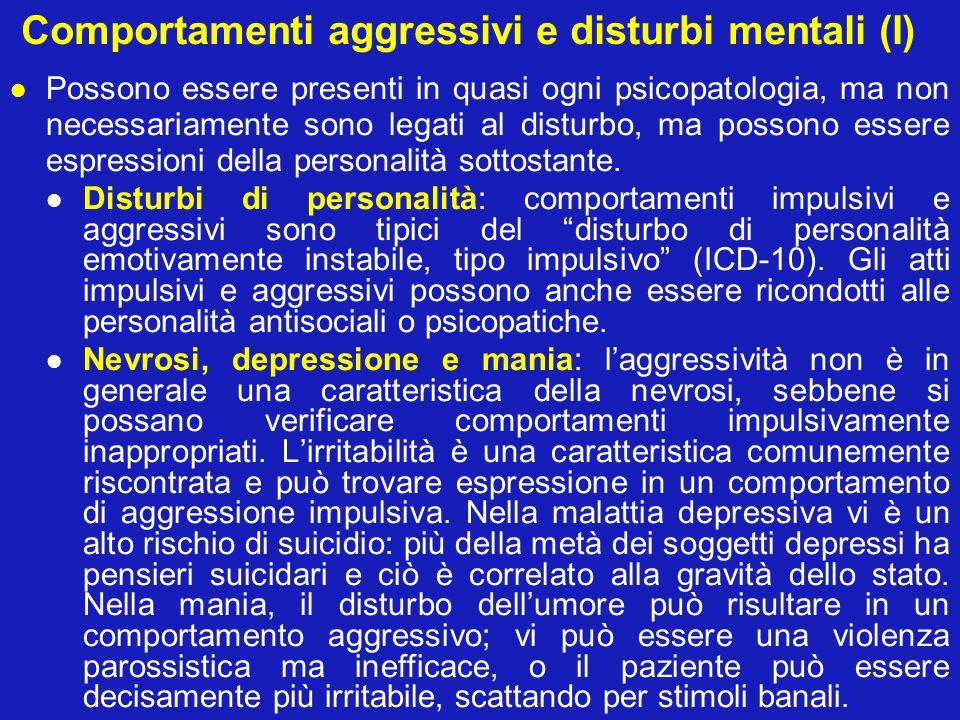 Comportamenti aggressivi e disturbi mentali (I) Possono essere presenti in quasi ogni psicopatologia, ma non necessariamente sono legati al disturbo,