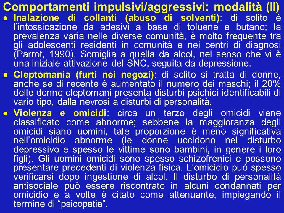 Comportamenti impulsivi/aggressivi: modalità (III) Autolesionismo deliberato: Barraclough e coll.