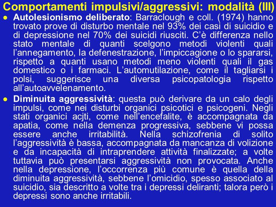 Comportamenti impulsivi/aggressivi: modalità (III) Autolesionismo deliberato: Barraclough e coll. (1974) hanno trovato prove di disturbo mentale nel 9