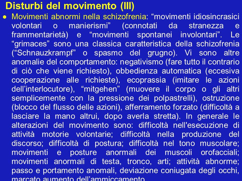 Disturbi del movimento (III) Movimenti abnormi nella schizofrenia: movimenti idiosincrasici volontari o manierismi (connotati da stranezza e frammenta