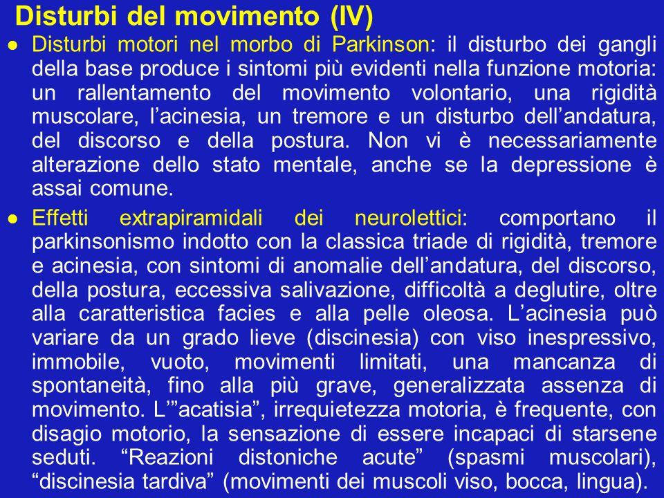 Disturbi del movimento (IV) Disturbi motori nel morbo di Parkinson: il disturbo dei gangli della base produce i sintomi più evidenti nella funzione mo