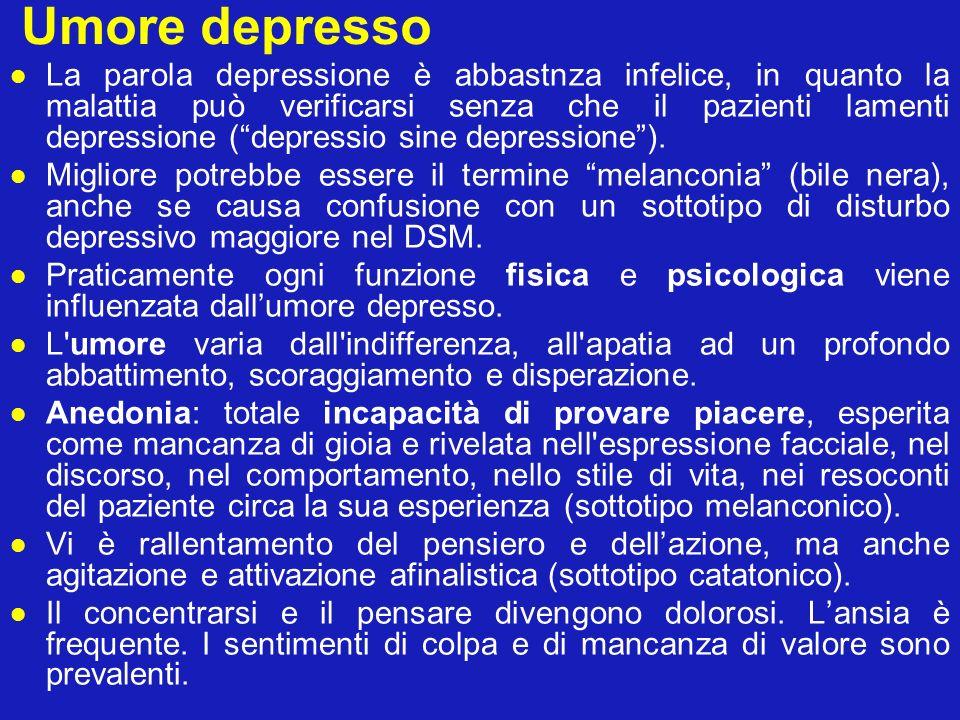 Umore depresso La parola depressione è abbastnza infelice, in quanto la malattia può verificarsi senza che il pazienti lamenti depressione (depressio