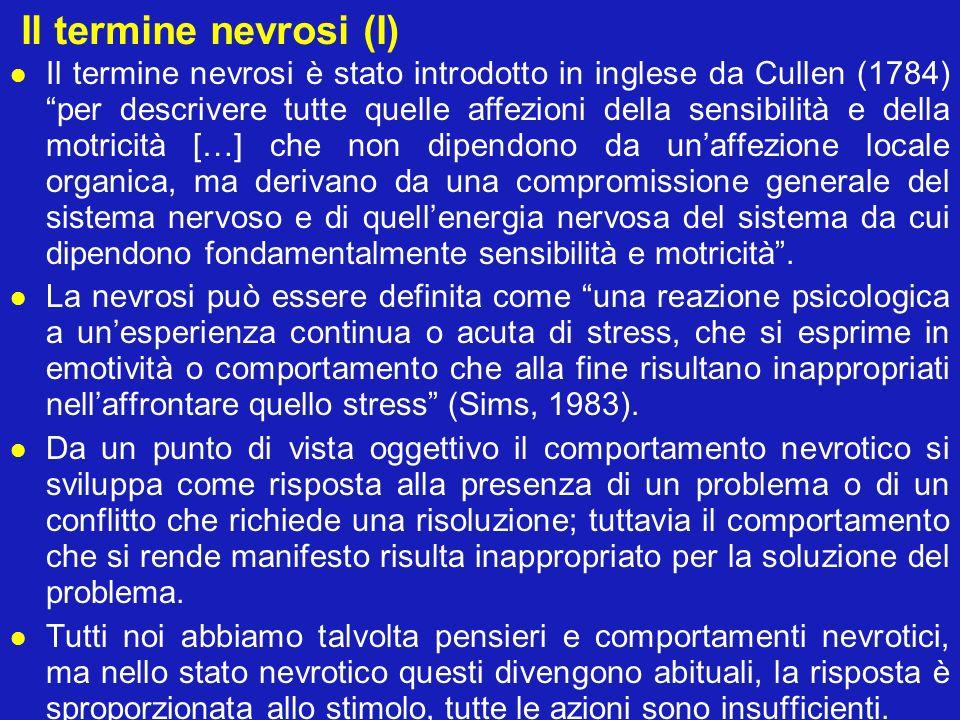 Il termine nevrosi (I) Il termine nevrosi è stato introdotto in inglese da Cullen (1784)per descrivere tutte quelle affezioni della sensibilità e dell