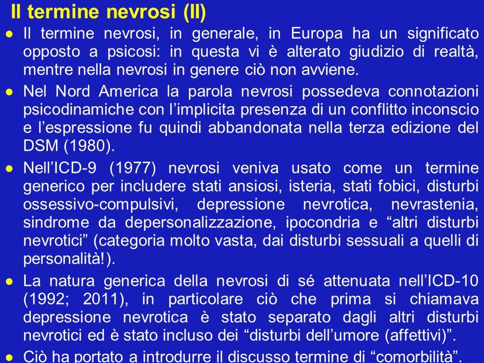 Il termine nevrosi (II) Il termine nevrosi, in generale, in Europa ha un significato opposto a psicosi: in questa vi è alterato giudizio di realtà, me