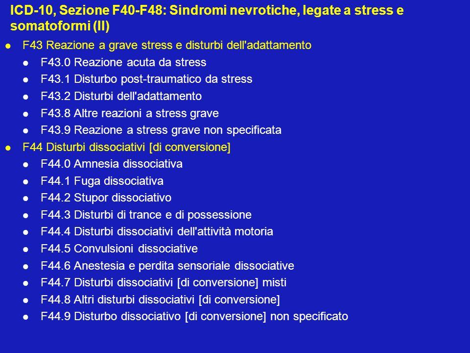 ICD-10, Sezione F40-F48: Sindromi nevrotiche, legate a stress e somatoformi (III) F45 Disturbi somatoformi F45.0 Disturbo da somatizzazione F45.1 Disturbo somatoforme indifferenziato F45.2 Disturbo ipocondriaco F45.3 Disfunzione vegetativa somatoforme F45.4 Disturbo somatoforme da dolore persistente F45.8 Altri disturbi somatoformi F45.9 Disturbo somatoforme non specificato F48 Altri disturbi nevrotici F48.0 Nevrastenia F48.1 Sindrome di depersonalizzazione-derealizzazione F48.8 Altri disturbi nevrotici specificati F48.9 Disturbi nevrotici non specificati Ai disturbi di questa sezione può essere aggiunto, come disturbo di natura nevrotica, anche: F34.1 Distimia, che viene affermata esplicitamente come una nevrosi depressiva odepressione nevrotica.