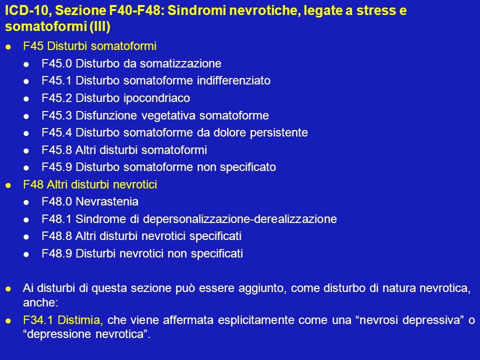 ICD-10, Sezione F40-F48: Sindromi nevrotiche, legate a stress e somatoformi (III) F45 Disturbi somatoformi F45.0 Disturbo da somatizzazione F45.1 Dist