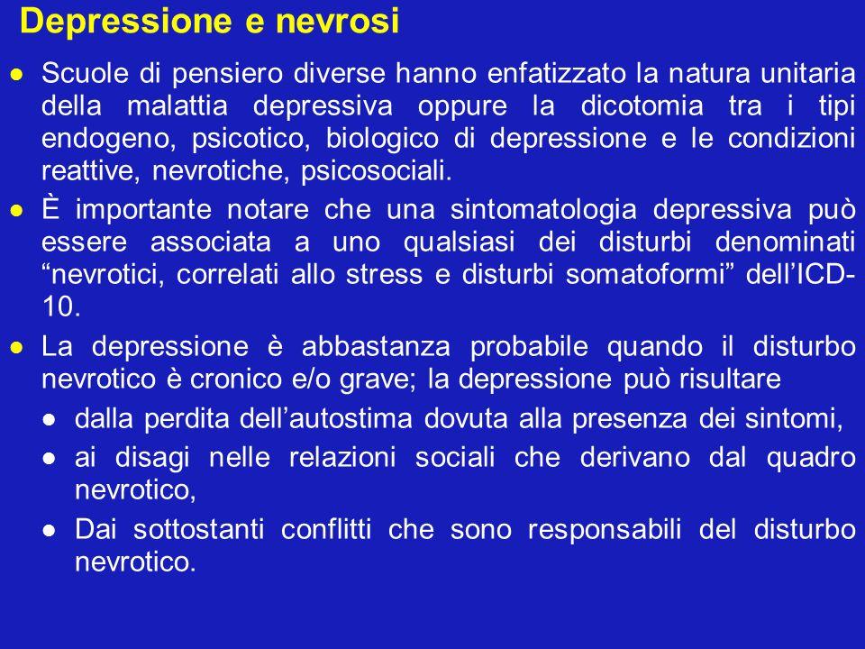 Depressione e nevrosi Scuole di pensiero diverse hanno enfatizzato la natura unitaria della malattia depressiva oppure la dicotomia tra i tipi endogen