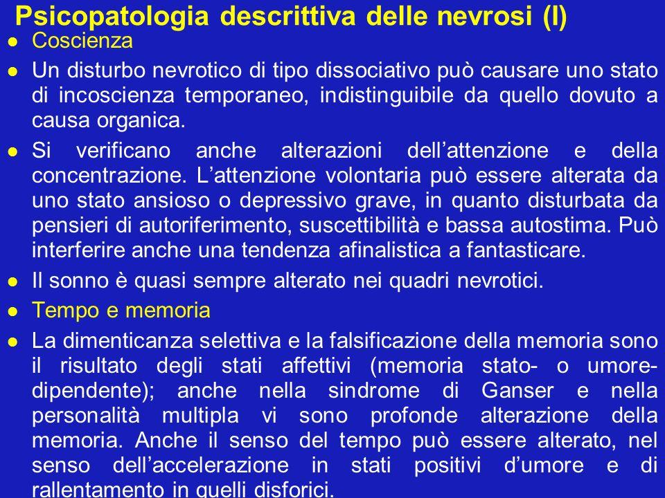 Psicopatologia descrittiva delle nevrosi (II) Percezione Distorsioni sensoriali e false percezioni possono essere presenti: cambiamenti dellintensità della percezione (oggetti spenti od opachi nella depressione).