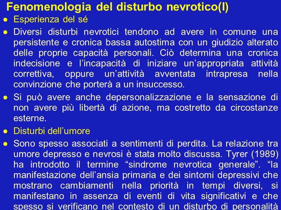 Fenomenologia del disturbo nevrotico(II) Sintomi fisici I sintomi fisici possono giocare una parte importante nei disturbi dissociativi, specialmente nella manifestazione di disturbi motori, convulsioni, anestesie e altri disturbi della sensibilità; nei disturbi somatoformi con somatizzazione, nellipocondria e nel disturbo da dolore somatoforme persistente, inoltre nella dismorfofobia.