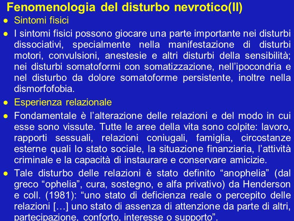 Fenomenologia del disturbo nevrotico(II) Sintomi fisici I sintomi fisici possono giocare una parte importante nei disturbi dissociativi, specialmente