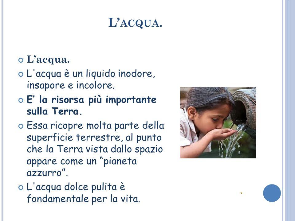 L ACQUA.Lacqua. L acqua è un liquido inodore, insapore e incolore.