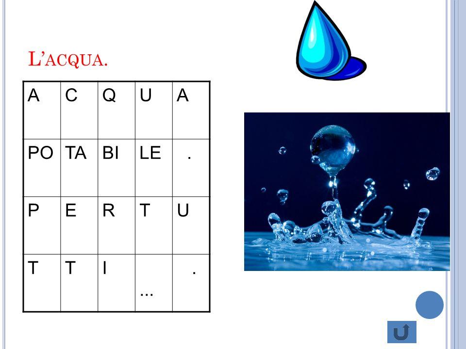 A CQUA … L acqua è un diritto che deve essere rispettato. Bisogna solo pensare alle persone che non hanno l acqua.