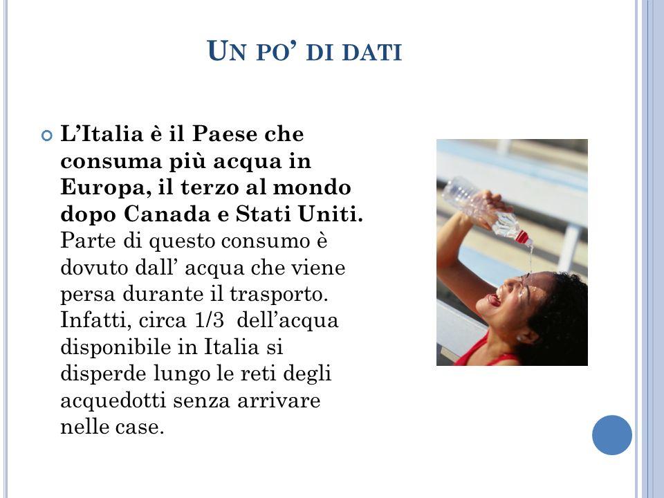 U N PO DI DATI LItalia è il Paese che consuma più acqua in Europa, il terzo al mondo dopo Canada e Stati Uniti.