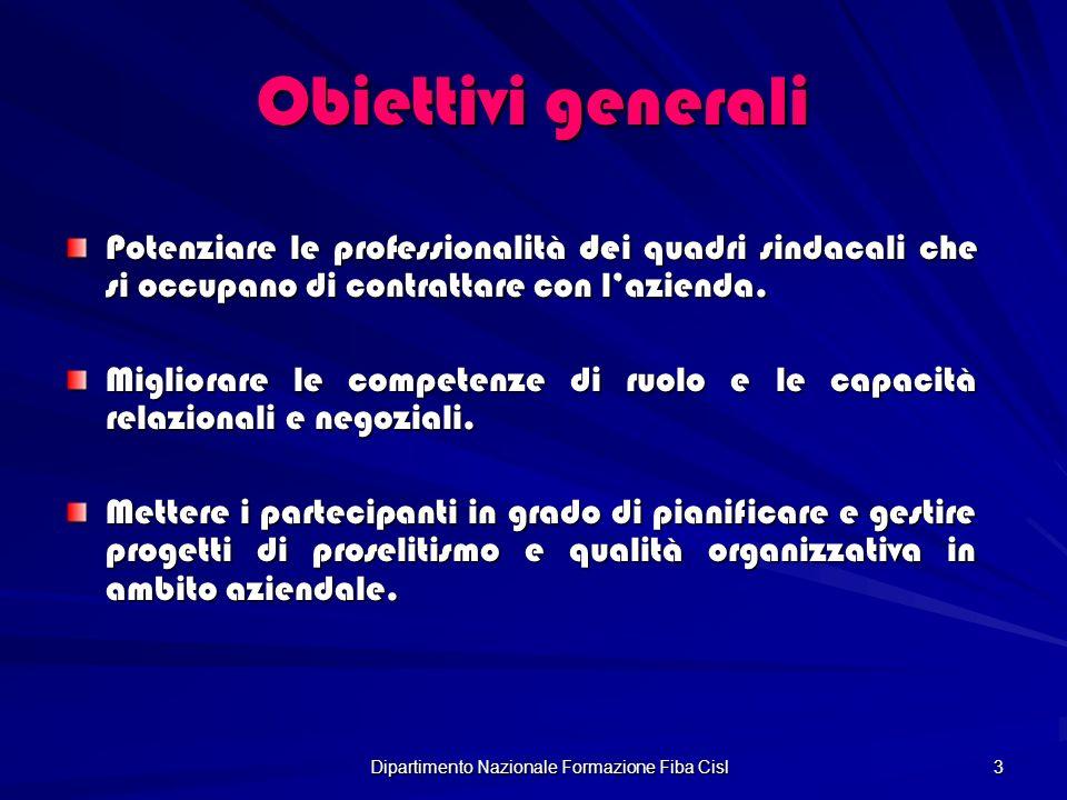 Dipartimento Nazionale Formazione Fiba Cisl 3 Obiettivi generali Potenziare le professionalità dei quadri sindacali che si occupano di contrattare con