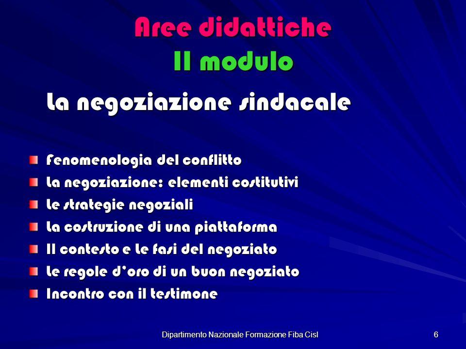 Dipartimento Nazionale Formazione Fiba Cisl 6 Aree didattiche II modulo La negoziazione sindacale Fenomenologia del conflitto La negoziazione: element