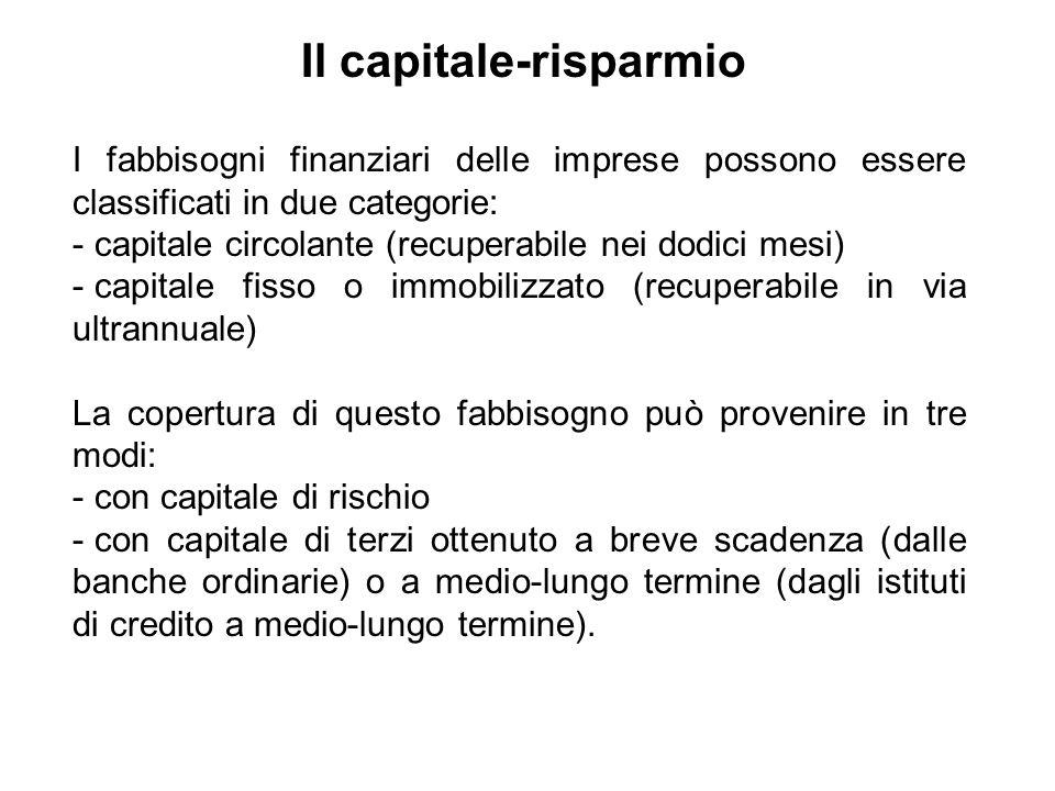 I fabbisogni finanziari delle imprese possono essere classificati in due categorie: - capitale circolante (recuperabile nei dodici mesi) - capitale fi