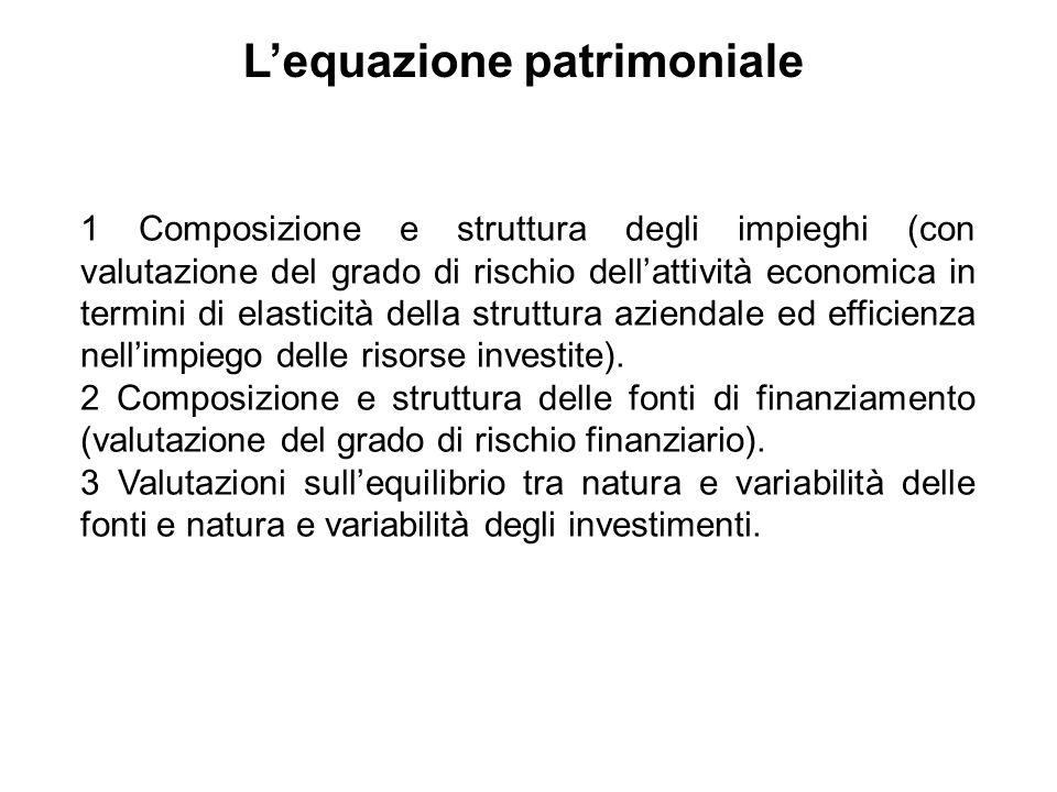 1 Composizione e struttura degli impieghi (con valutazione del grado di rischio dellattività economica in termini di elasticità della struttura aziend