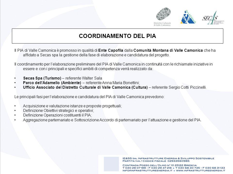 Il PIA di Valle Camonica è promosso in qualità di Ente Capofila dalla Comunità Montana di Valle Camonica che ha affidato a Secas spa la gestione della fase di elaborazione e candidatura del progetto.