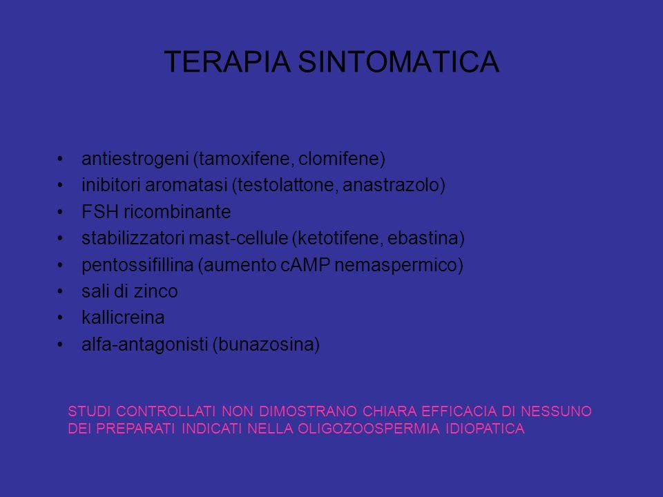 TERAPIA SINTOMATICA antiestrogeni (tamoxifene, clomifene) inibitori aromatasi (testolattone, anastrazolo) FSH ricombinante stabilizzatori mast-cellule (ketotifene, ebastina) pentossifillina (aumento cAMP nemaspermico) sali di zinco kallicreina alfa-antagonisti (bunazosina) STUDI CONTROLLATI NON DIMOSTRANO CHIARA EFFICACIA DI NESSUNO DEI PREPARATI INDICATI NELLA OLIGOZOOSPERMIA IDIOPATICA