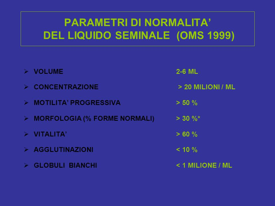 PARAMETRI DI NORMALITA DEL LIQUIDO SEMINALE (OMS 1999) VOLUME 2-6 ML CONCENTRAZIONE > 20 MILIONI / ML MOTILITA PROGRESSIVA > 50 % MORFOLOGIA (% FORME NORMALI) > 30 %* VITALITA > 60 % AGGLUTINAZIONI < 10 % GLOBULI BIANCHI < 1 MILIONE / ML