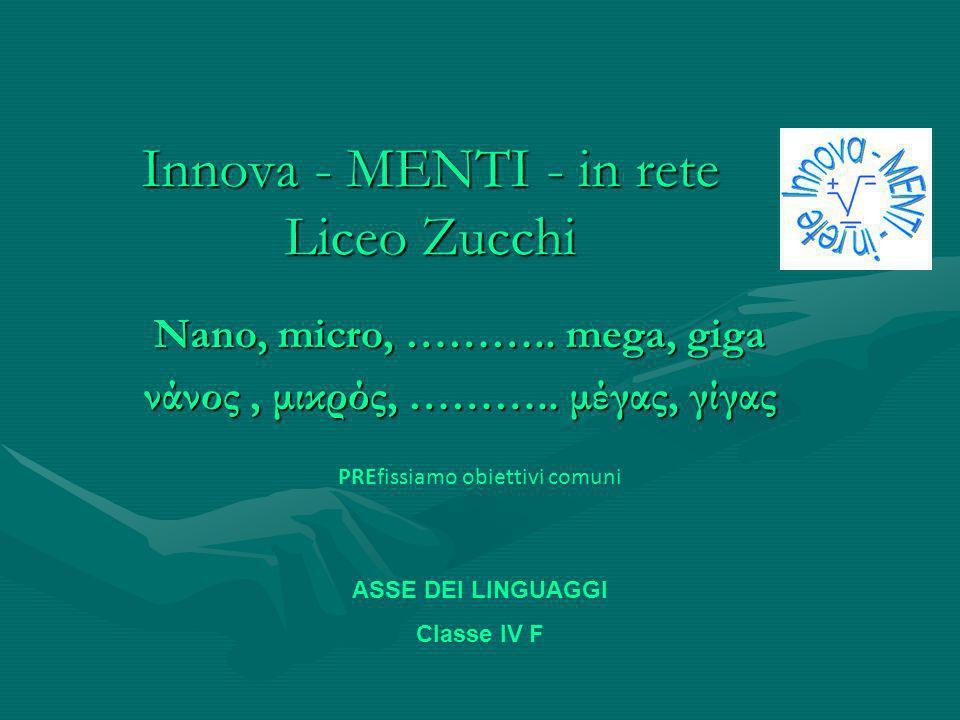 Innova - MENTI - in rete Liceo Zucchi Nano, micro, ………..