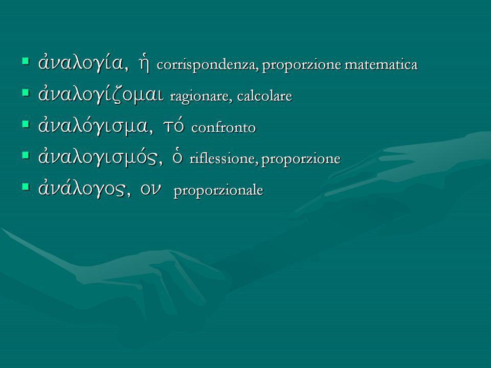 ajnalogiva, hJ corrispondenza, proporzione matematica ajnalogiva, hJ corrispondenza, proporzione matematica ajnalogivzomai ragionare, calcolare ajnalogivzomai ragionare, calcolare ajnalovgisma, tov confronto ajnalovgisma, tov confronto ajnalogismov, oJ riflessione, proporzione ajnalogismov, oJ riflessione, proporzione ajnavlogo, on proporzionale ajnavlogo, on proporzionale