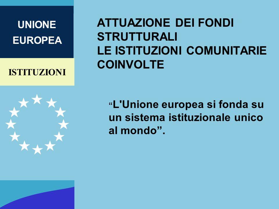 ISTITUZIONI UNIONE EUROPEA ATTUAZIONE DEI FONDI STRUTTURALI LE ISTITUZIONI COMUNITARIE COINVOLTE L'Unione europea si fonda su un sistema istituzionale