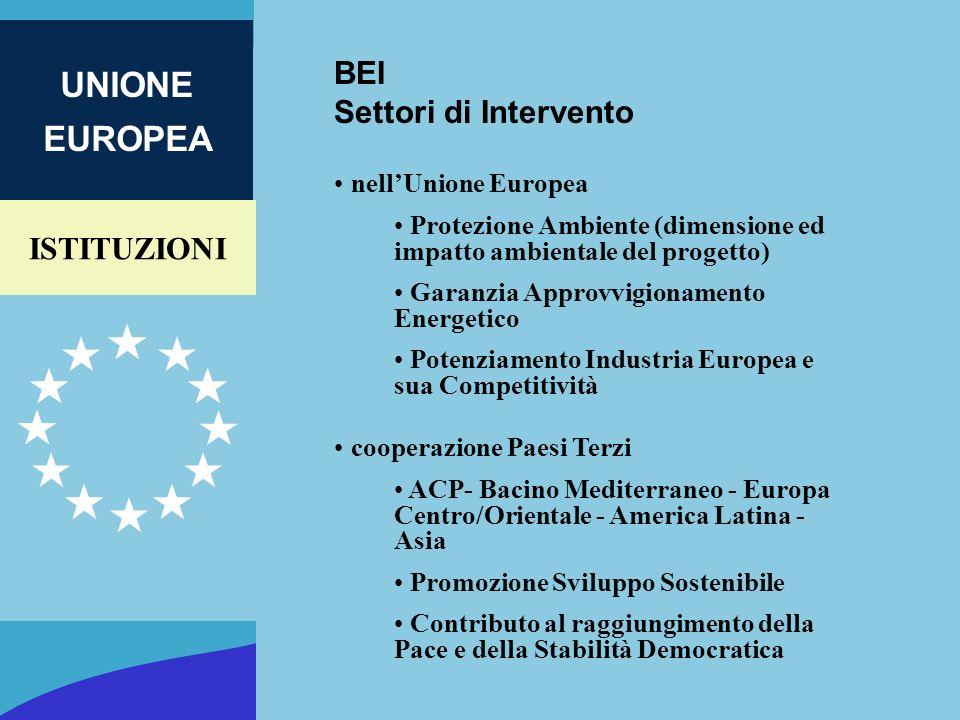 ISTITUZIONI UNIONE EUROPEA BEI Settori di Intervento nellUnione Europea Protezione Ambiente (dimensione ed impatto ambientale del progetto) Garanzia A