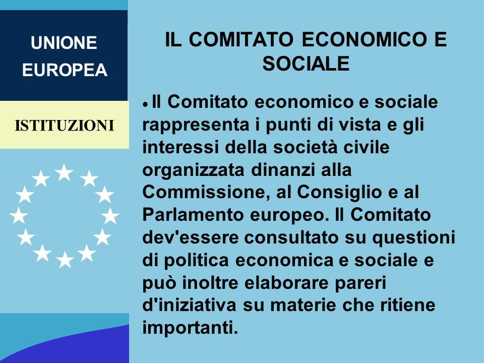 ISTITUZIONI UNIONE EUROPEA IL COMITATO ECONOMICO E SOCIALE Il Comitato economico e sociale rappresenta i punti di vista e gli interessi della società