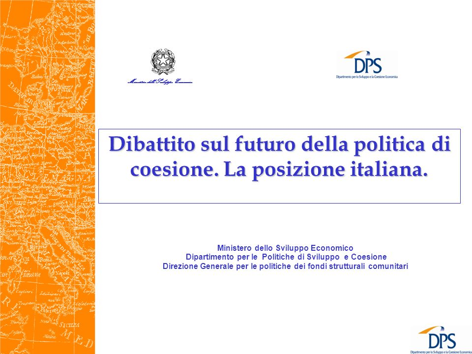 Il Quadro di riferimento Rapporto Barca, 2009 Un agenda per la riforma della politica di coesione COM(2010)2020 del 3.3.2010: Europa 2020: una strategia per una crescita intelligente, sostenibile e inclusiva COM (2010)700 del 19.10.2010: The EU Budget review COM (2011) 500 del 29/06/2011 A BUDGET FOR Europe 2020 Comunicazione della Commissione COM(2010) 642 del 10 novembre 2010: Quinta relazione sulla coesione economica, sociale e territoriale Contributo dellItalia alla consultazione pubblica, gennaio 2011 http://ec.europa.eu/regional_policy/consultation/5cr/pdf/answers/nationa l/italy_2011_02_04_it.pdf IL QUADRO DI RIFERIMENTO 2014-2020