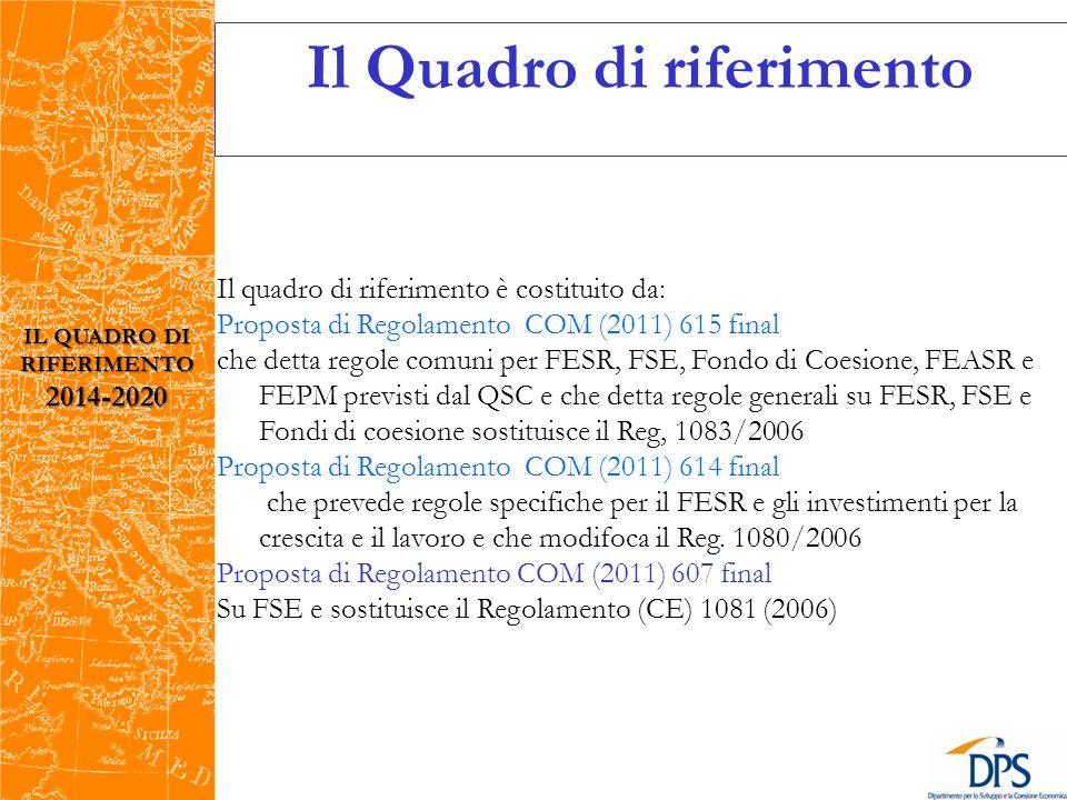 Il quadro di riferimento è costituito da: Proposta di Regolamento COM (2011) 615 final che detta regole comuni per FESR, FSE, Fondo di Coesione, FEASR e FEPM previsti dal QSC e che detta regole generali su FESR, FSE e Fondi di coesione sostituisce il Reg, 1083/2006 Proposta di Regolamento COM (2011) 614 final che prevede regole specifiche per il FESR e gli investimenti per la crescita e il lavoro e che modifoca il Reg.