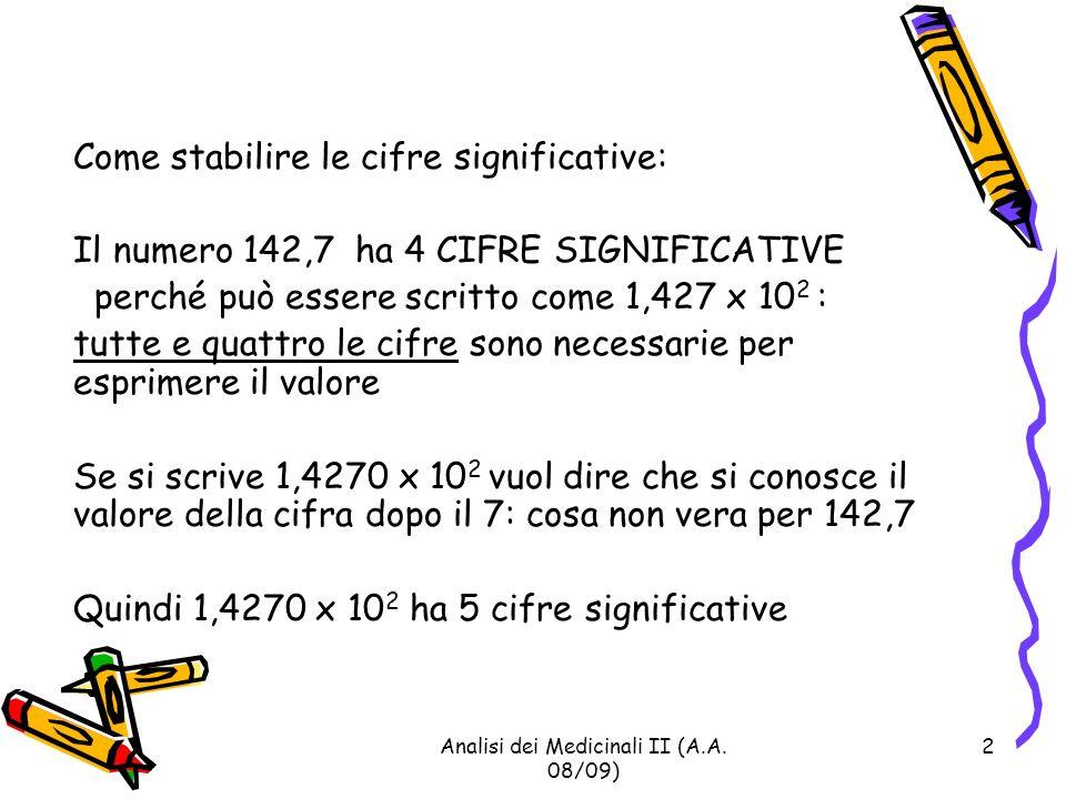 Analisi dei Medicinali II (A.A.08/09) 3 Altri esempi: 1,4270 x 10 2 5 CIFRE SIGNIF.
